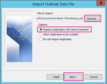 Choose Outlook .PST file.